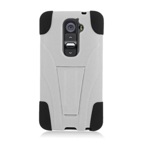 Insten Hard Hybrid Silicone Case w/stand For LG G2 D801 T-Mobile/G2 LS980 Sprint, White/Black