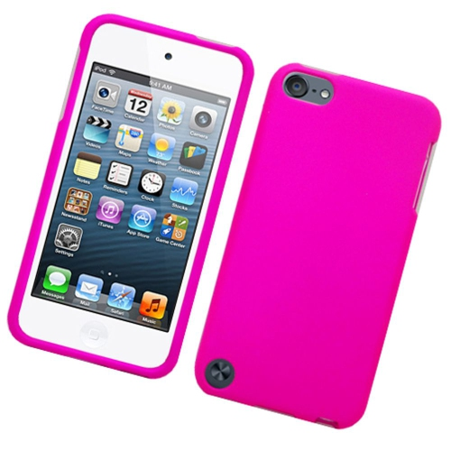 Insten Hard Rubberized Cover Case For Apple iPod Touch 5th Gen, Hot Pink