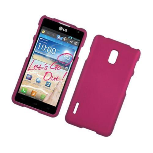 Insten Hard Rubber Cover Case For LG Optimus F7 US780 (US Cellular), Hot Pink