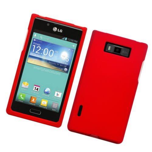 Insten Hard Rubber Cover Case For LG Splendor US730 / Venice LG730, Red