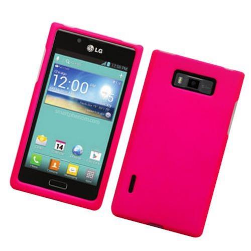 Insten Hard Rubberized Cover Case For LG Splendor US730 / Venice LG730, Hot Pink
