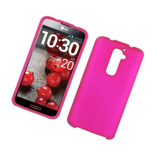 Insten Hard Rubber Coated Cover Case For LG G2 D800 AT&T, Hot Pink