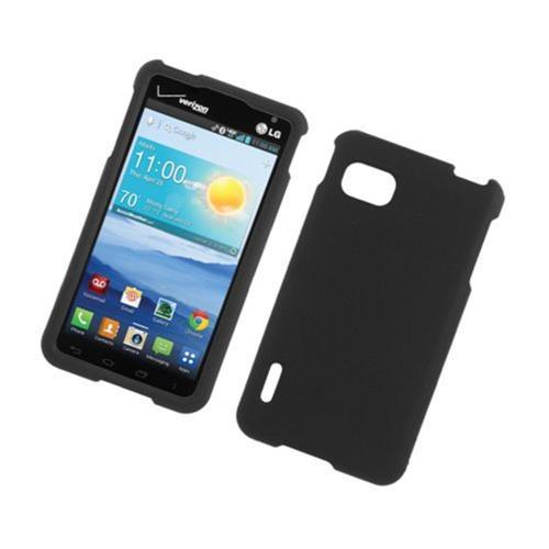 Insten Hard Rubber Coated Case For LG Optimus F3 LS720, Black