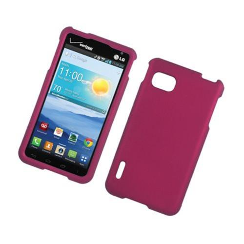 Insten Hard Rubber Coated Case For LG Optimus F3 LS720, Hot Pink
