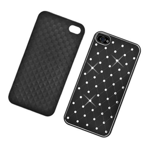 Insten Hard Rubber Coated Chrome Case w/Diamond For Apple iPhone 4/4S, Black