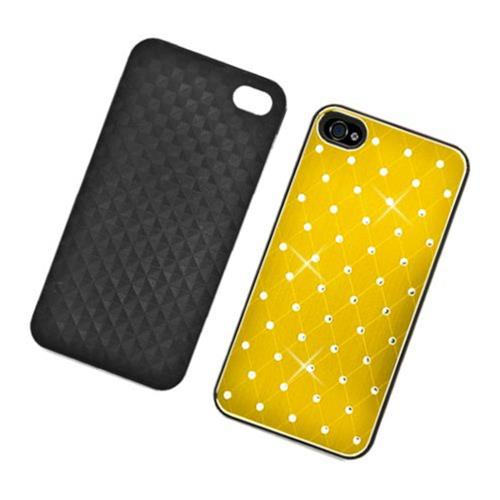 Insten Hard Rubber Coated Chrome Cover Case w/Diamond For Apple iPhone 4/4S, Yellow