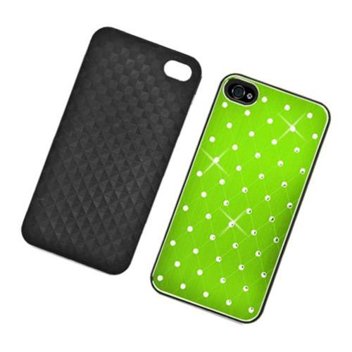 Insten Hard Rubber Chrome Cover Case w/Diamond For Apple iPhone 4/4S, Green