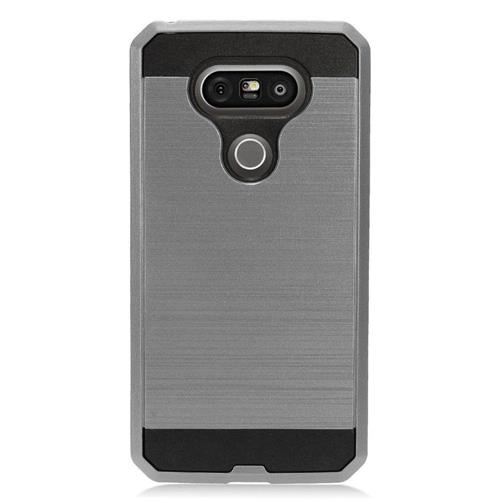 Insten Hard Hybrid TPU Cover Case For LG G5, Gray/Black
