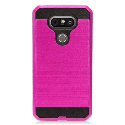 Insten Fitted Soft Shell Case for LG G5 - Hot Pink;Black