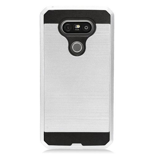 Insten Hard Hybrid TPU Case For LG G5, Silver/Black