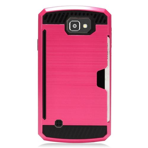 Insten Hard Dual Layer TPU Cover Case For LG Optimus Zone 3/Spree, Hot Pink/Black