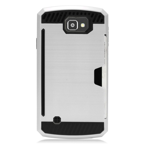 Insten Hard Dual Layer TPU Cover Case For LG Optimus Zone 3/Spree, Silver/Black