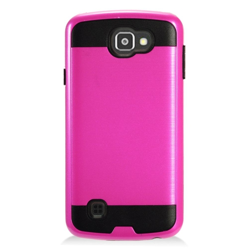 Insten Hard Hybrid TPU Cover Case For LG Optimus Zone 3/Spree, Hot Pink/Black