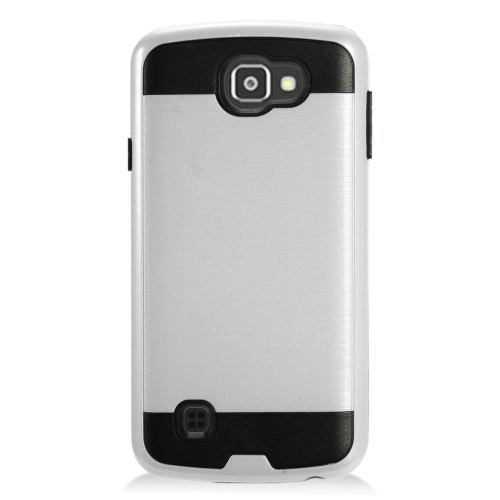 Insten Hard Hybrid TPU Cover Case For LG Optimus Zone 3/Spree, Silver/Black