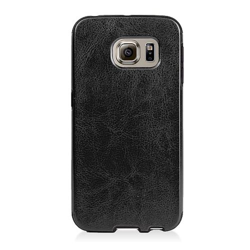 Insten Leather Fabric TPU Cover Case For Samsung Galaxy S6 Edge, Black