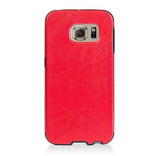 Insten Leather Fabric TPU Case For Samsung Galaxy S6 Edge, Red