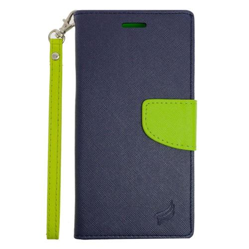 Insten Leather Case Lanyard w/stand/card slot For Samsung Galaxy S6 Edge Plus, Dark Blue/Green
