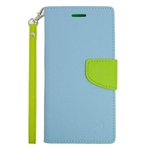 Insten Flip Leather Case w/stand/card slot For Samsung Galaxy S6 Edge Plus, Light Blue/Green
