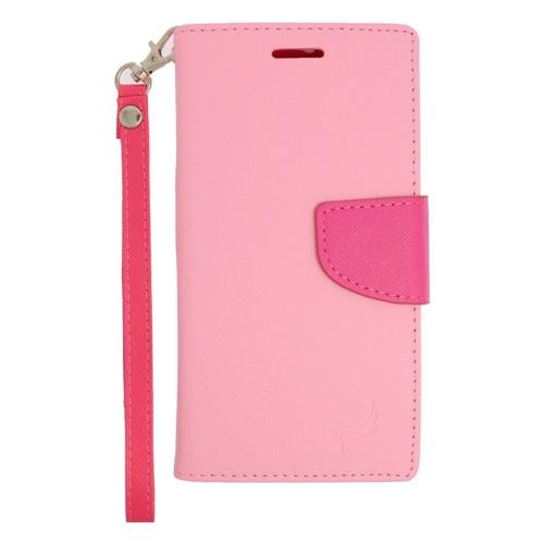 Insten Flip Leather Case Lanyard w/stand/card slot For Samsung Galaxy S6 Edge Plus, Pink/Hot Pink