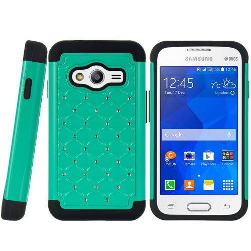 Insten Hard Dual Layer Rubberized Silicone Case w/Diamond For Samsung Galaxy Ace 4 LTE, Green/Black