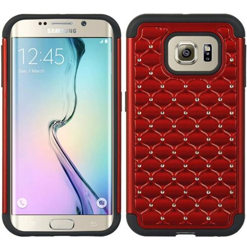 Insten Hard Hybrid TPU Case w/Diamond For Samsung Galaxy S6 Edge, Red/Black