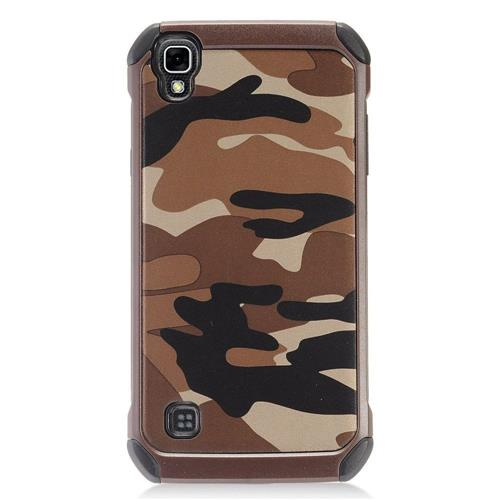 Insten Camouflage Hard Hybrid Rubber Silicone Cover Case For LG Tribute HD/X STYLE, Brown/Black