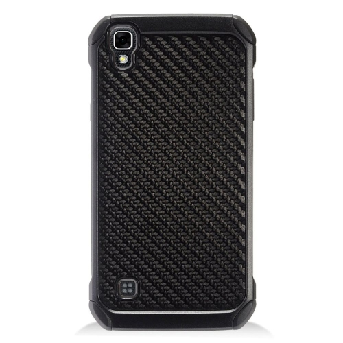Insten Carbon Fiber Hard Hybrid Rubberized Silicone Cover Case For LG Tribute HD/X STYLE, Black