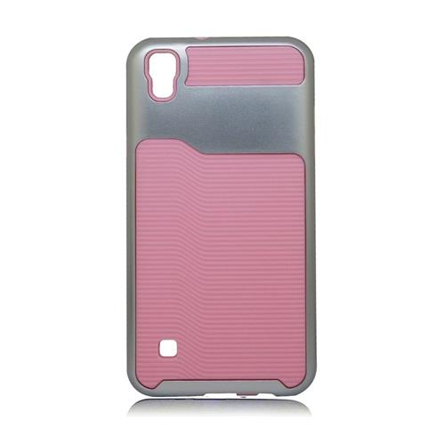 Insten Hard Hybrid Plastic Silicone Cover Case For LG Tribute HD/X STYLE, Pink/Silver