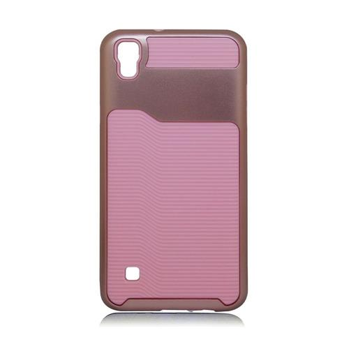 Insten Hard Dual Layer Plastic Silicone Cover Case For LG Tribute HD/X STYLE, Pink/Rose Gold