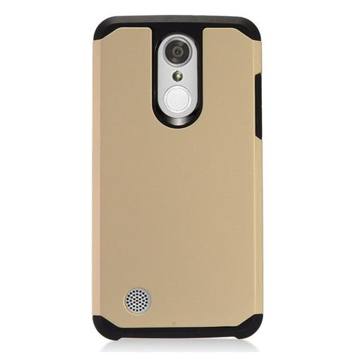 Insten Hard Dual Layer TPU Case For LG Aristo, Gold/Black