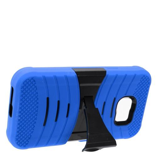 Insten Wave Symbiosis Rubber Hard Cover Case w/stand For Samsung Galaxy S7 Active, Blue/Black