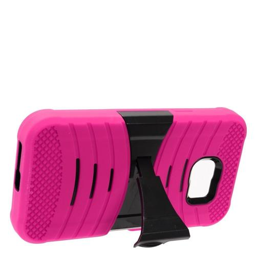 Insten Wave Symbiosis Skin Rubber Hard Case w/stand For Samsung Galaxy S7 Active, Hot Pink/Black
