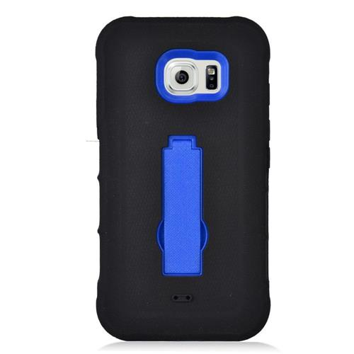 Insten Symbiosis Soft Rubber Hard Cover Case w/stand For Samsung Galaxy S7 Active, Black/Blue