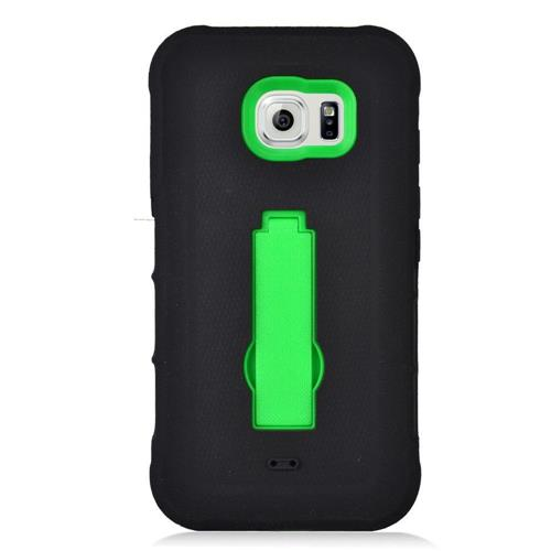 Insten Symbiosis Silicone Rubber Hard Cover Case w/stand For Samsung Galaxy S7 Active, Black/Green