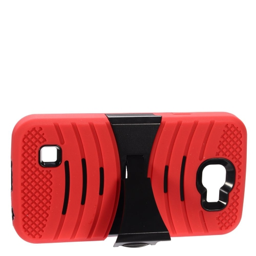 Insten Wave Symbiosis Rubber Hard Cover Case w/stand For LG K3 (2016), Red/Black