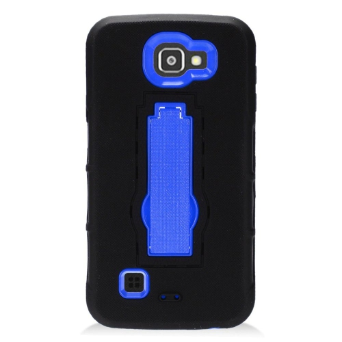 Insten Symbiosis Gel Rubber Hard Case w/stand For LG K3 (2016), Black/Blue