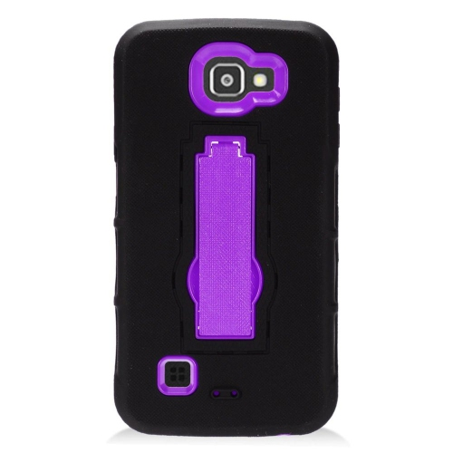 Insten Symbiosis Skin Rubber Hard Cover Case w/stand For LG K3 (2016), Black/Purple