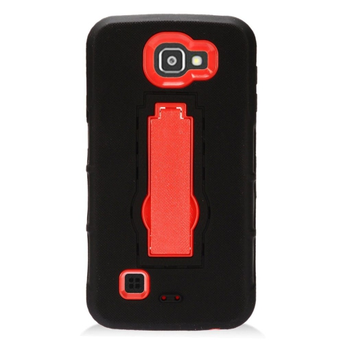 Insten Symbiosis Skin Rubber Hard Case w/stand For LG K3 (2016), Black/Red