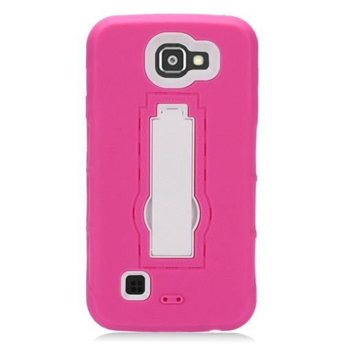 Insten Symbiosis Silicone Rubber Hard Cover Case w/stand For LG K3 (2016), Hot Pink/White