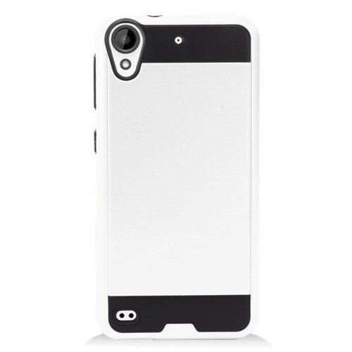 Insten Chrome Hybrid Brushed Hard Cover Case For HTC Desire 530, White/Black