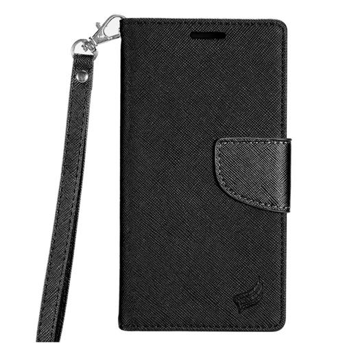Insten Flip Leather Fabric Cover Case Lanyard w/stand/card slot For LG X Power, Black