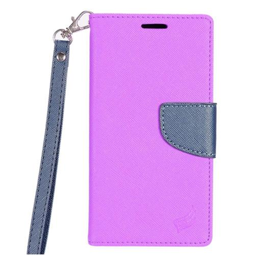 Insten Flip Leather Fabric Cover Case Lanyard w/stand/card slot For LG X Power, Purple/Blue