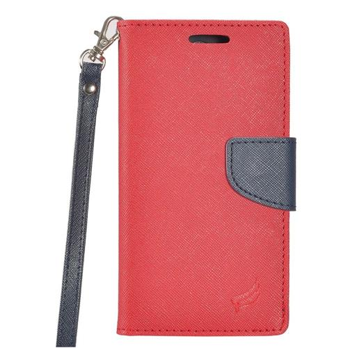 Insten Folio Leather Fabric Case Lanyard w/stand/card slot For LG X Power, Red/Blue