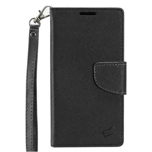Insten Folio Leather Fabric Cover Case Lanyard w/stand/card slot For HTC Desire 530, Black