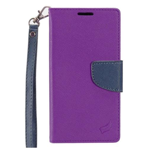 Insten Folio Leather Fabric Cover Case Lanyard w/stand/card holder For HTC Desire 530, Purple/Blue