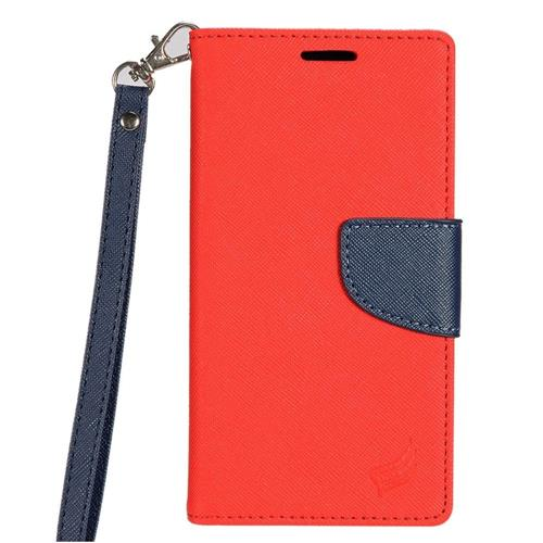 Insten Folio Leather Fabric Case Lanyard w/stand/card slot For HTC Desire 530, Red/Blue