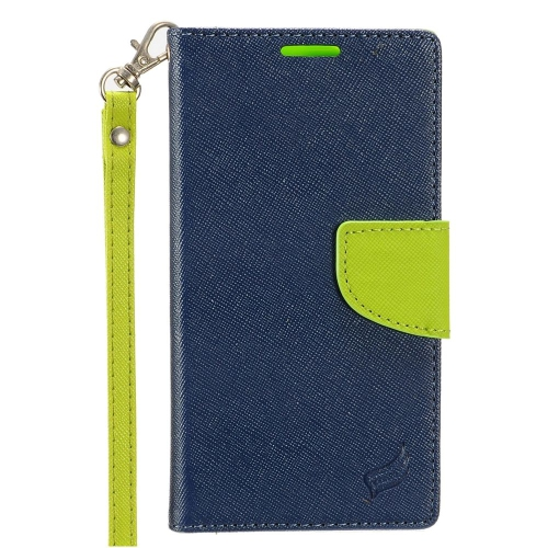 Insten Book-Style Leather Fabric Case Lanyard w/stand/card holder For HTC Desire 530, Blue/Green