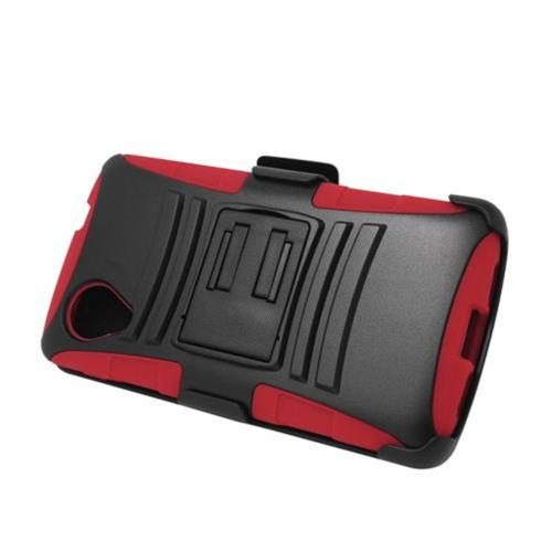 Insten Armor HardPlastic Silicone Case w/stand/Holster For LG Google Nexus 5 D820, Black/Red