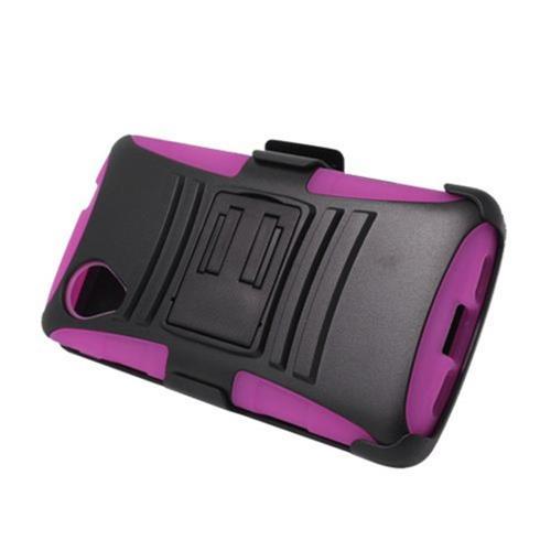 Insten Advanced Armor Hard Hybrid Plastic Case w/stand For LG Google Nexus 5 D820, Black/Hot Pink