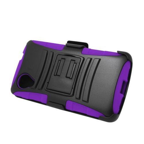 Insten Armor Hard Hybrid Silicone Case w/stand/Holster For LG Google Nexus 5 D820, Black/Purple